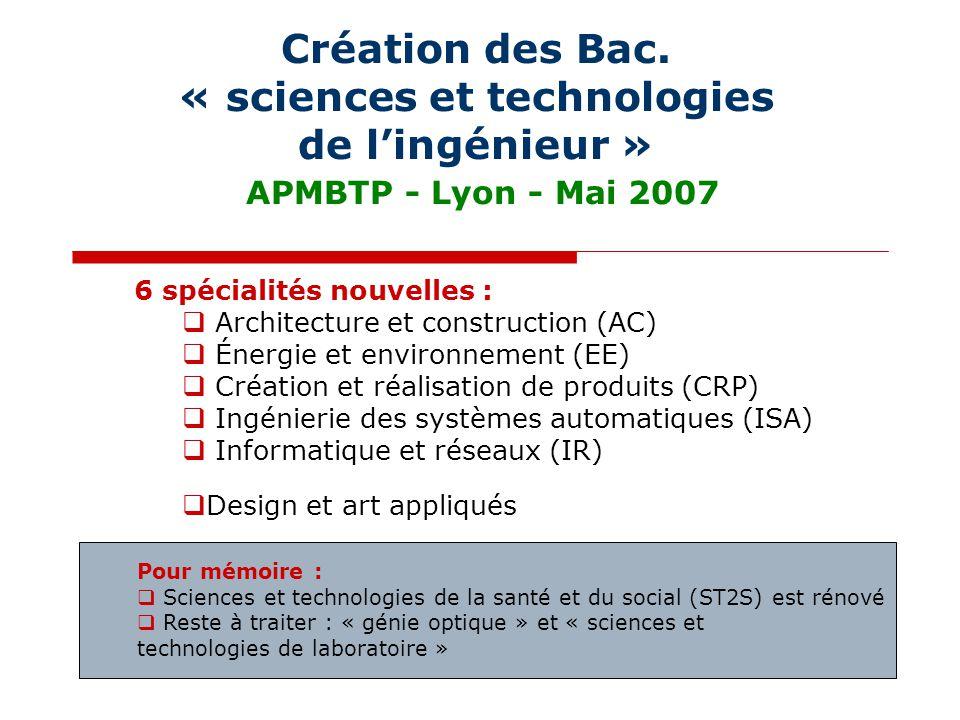 Création des Bac. « sciences et technologies de l'ingénieur » APMBTP - Lyon - Mai 2007