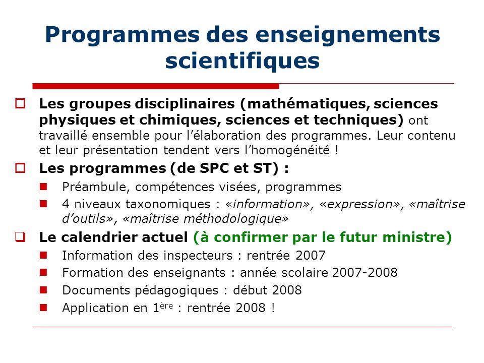 Programmes des enseignements scientifiques