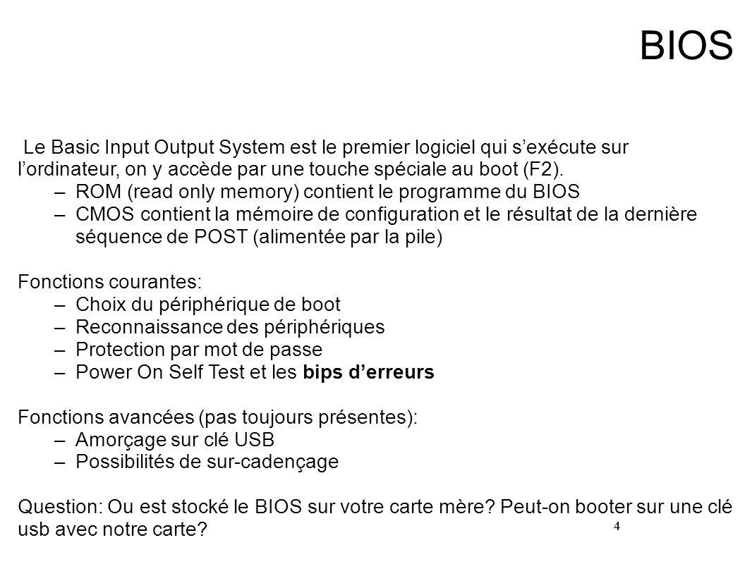 BIOS Le Basic Input Output System est le premier logiciel qui s'exécute sur l'ordinateur, on y accède par une touche spéciale au boot (F2).