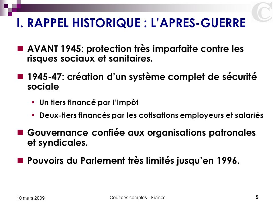 I. RAPPEL HISTORIQUE : L'APRES-GUERRE