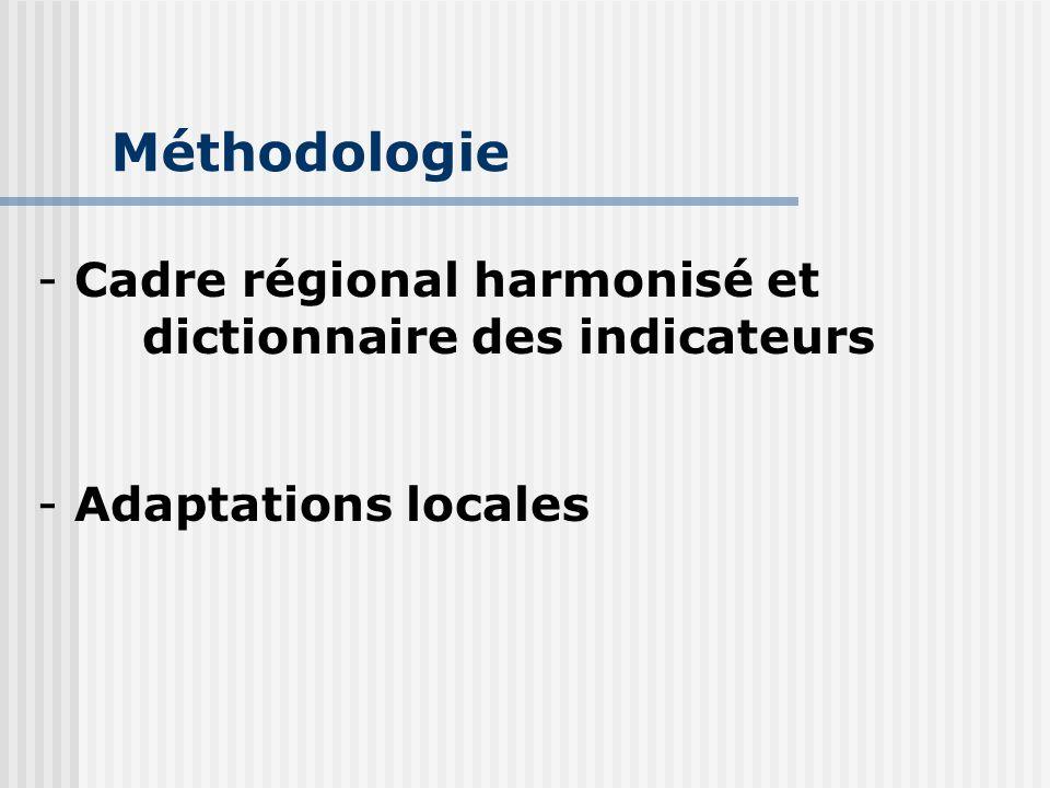 Méthodologie Cadre régional harmonisé et dictionnaire des indicateurs