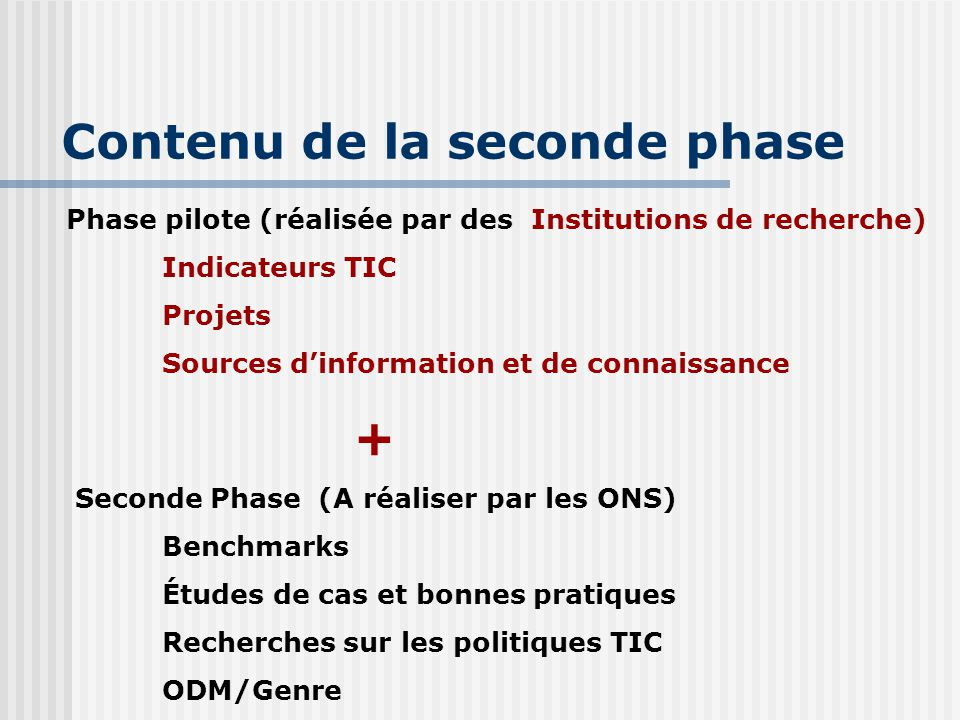 Contenu de la seconde phase