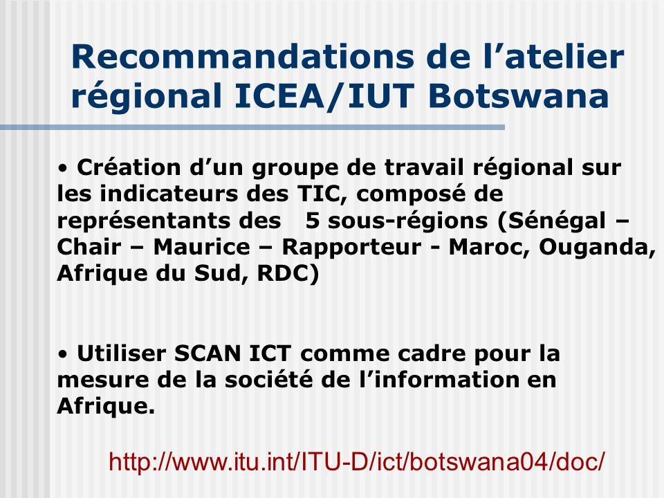 Recommandations de l'atelier régional ICEA/IUT Botswana
