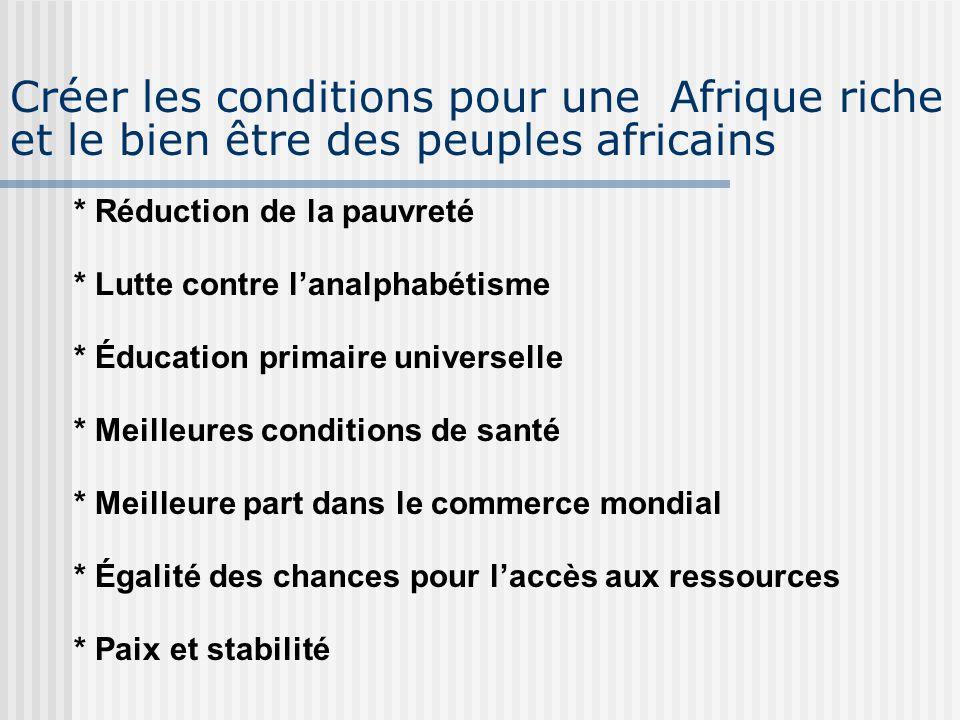 Créer les conditions pour une Afrique riche et le bien être des peuples africains