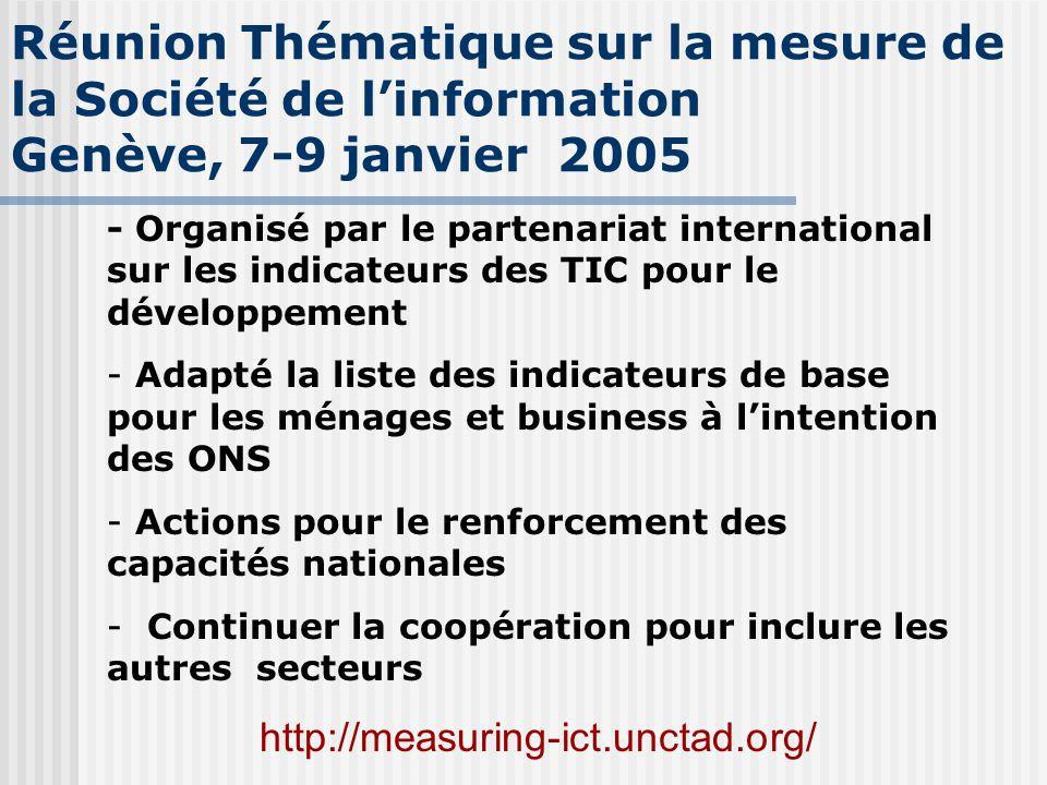 Réunion Thématique sur la mesure de la Société de l'information Genève, 7-9 janvier 2005