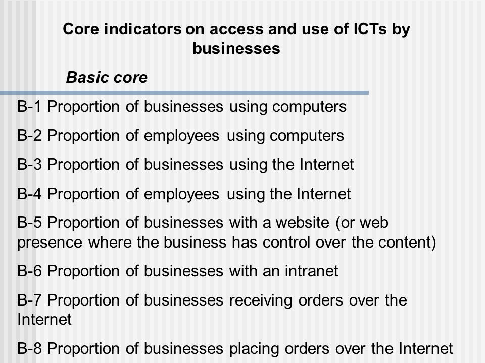 Core indicators on access and use of ICTs by businesses