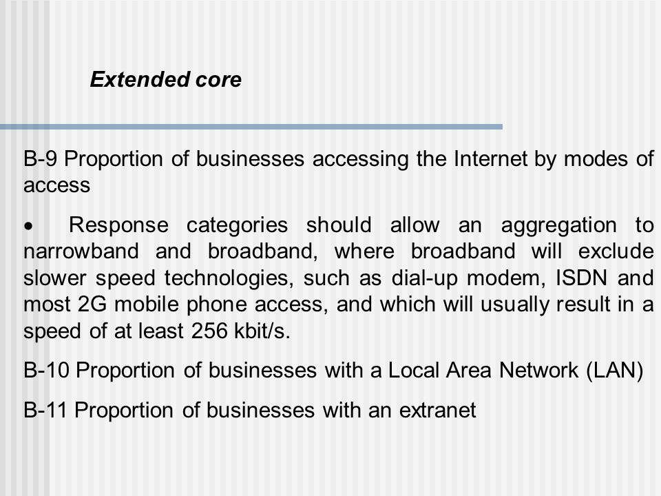 Extended core B-9 Proportion of businesses accessing the Internet by modes of access.