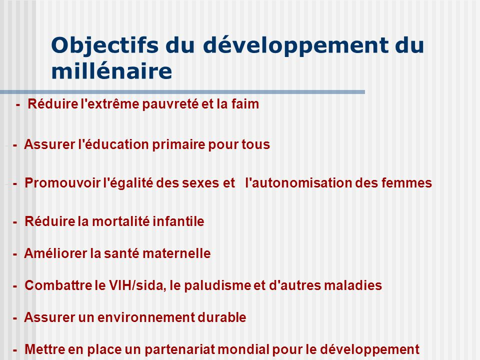 Objectifs du développement du millénaire