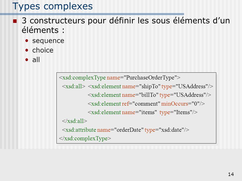 Types complexes 3 constructeurs pour définir les sous éléments d'un éléments : sequence. choice. all.