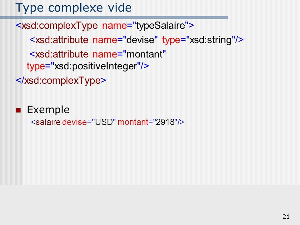 Type complexe vide <xsd:complexType name= typeSalaire >