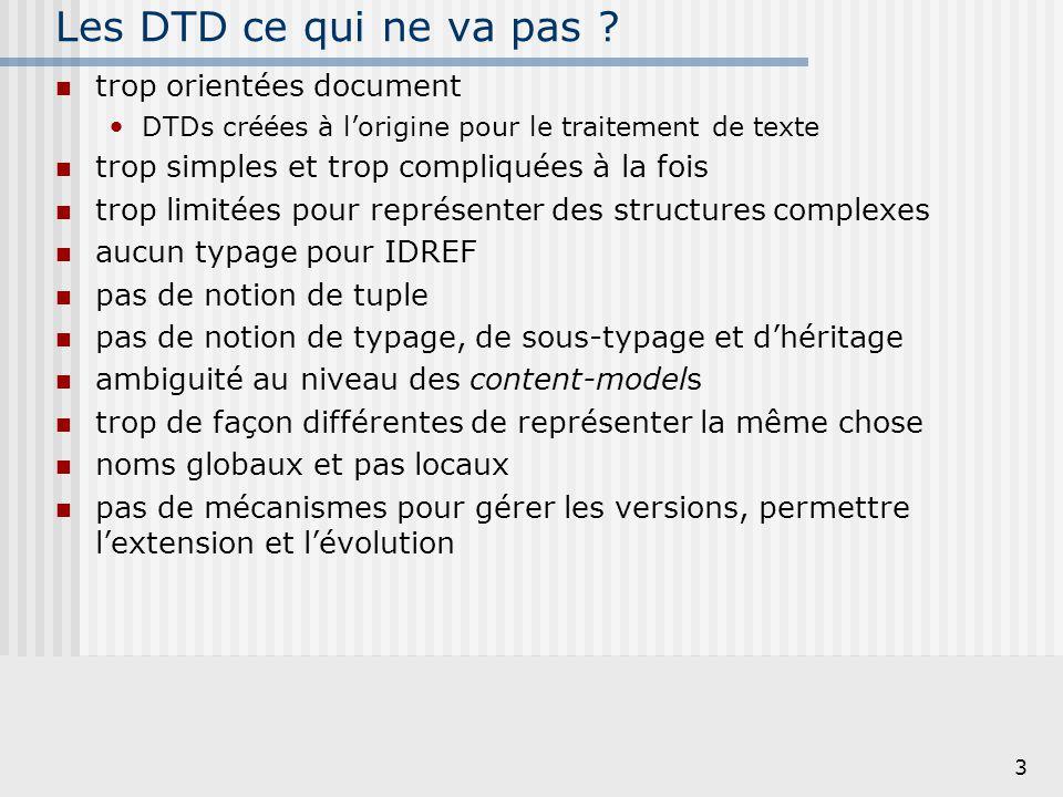 Les DTD ce qui ne va pas trop orientées document
