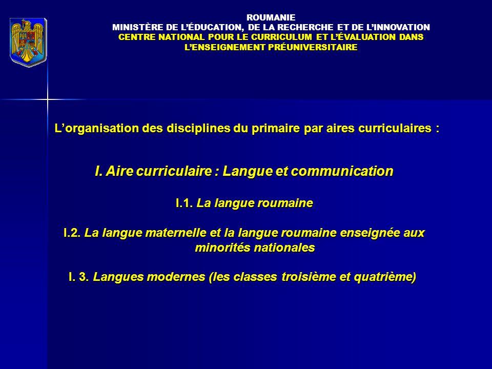 I. Aire curriculaire : Langue et communication
