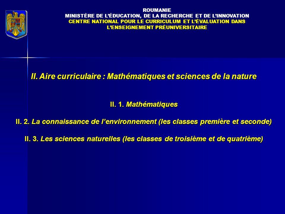 II. Aire curriculaire : Mathématiques et sciences de la nature