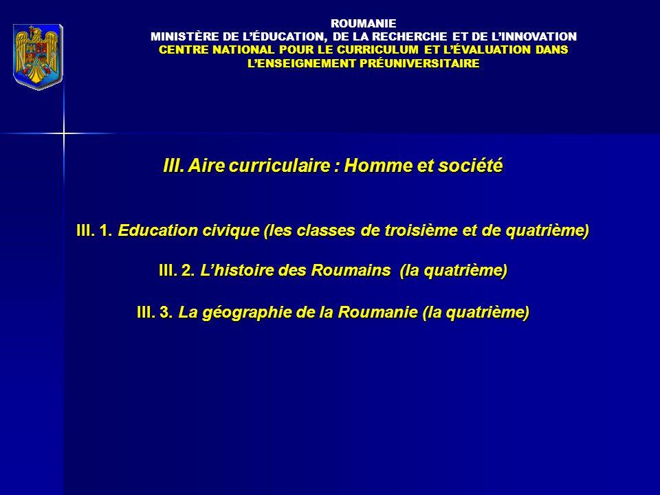 III. Aire curriculaire : Homme et société