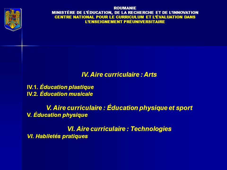 IV. Aire curriculaire : Arts