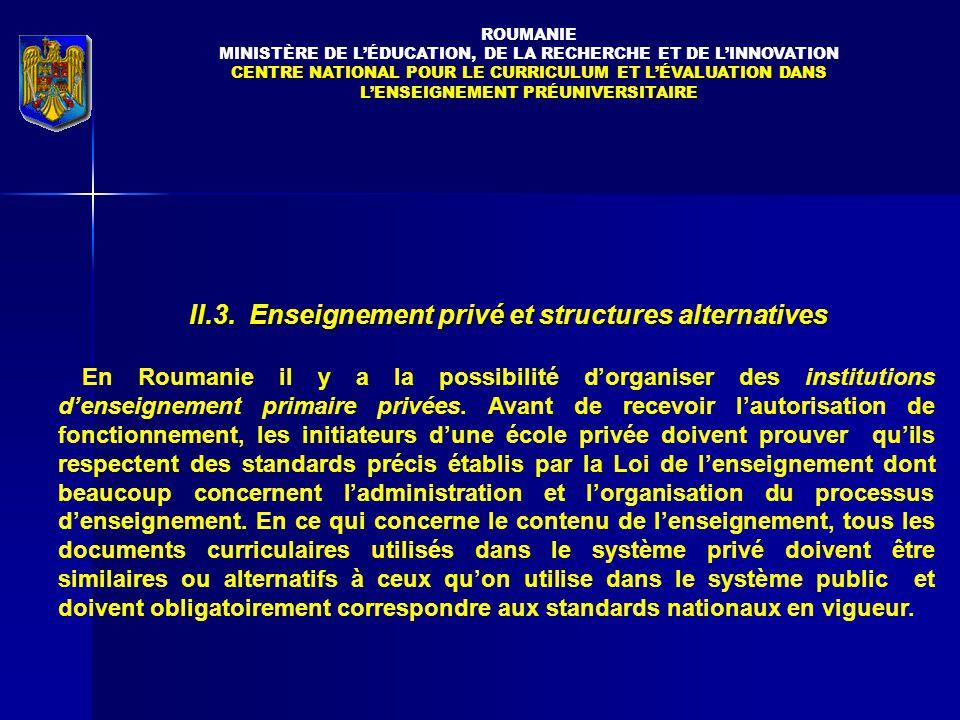 II.3. Enseignement privé et structures alternatives