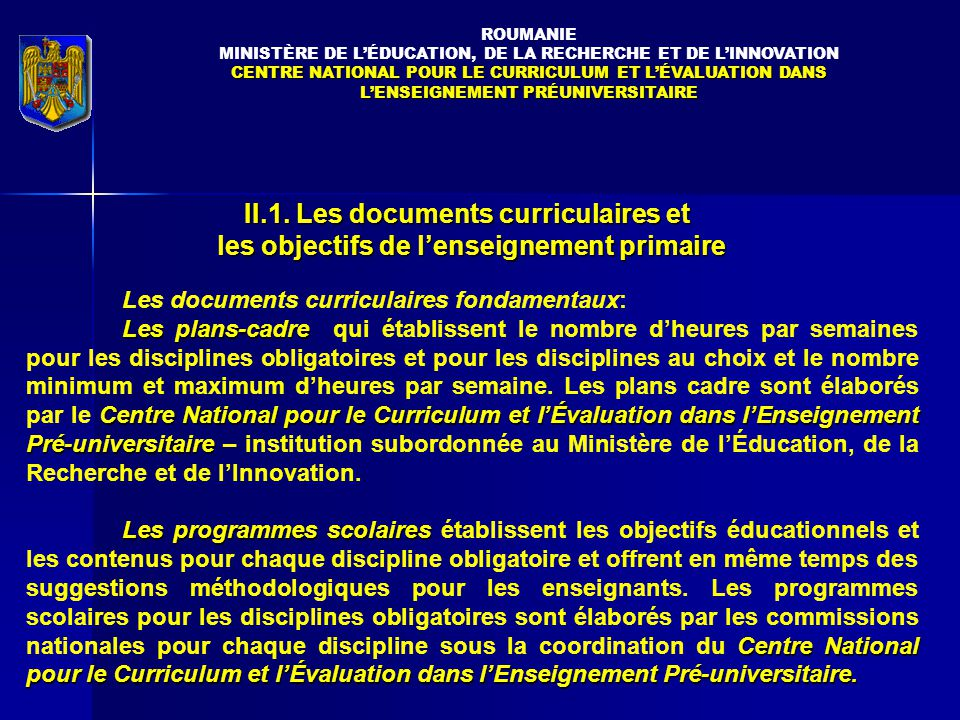 II.1. Les documents curriculaires et