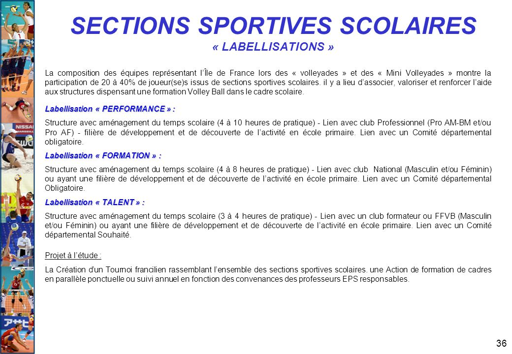 SECTIONS SPORTIVES SCOLAIRES « LABELLISATIONS »