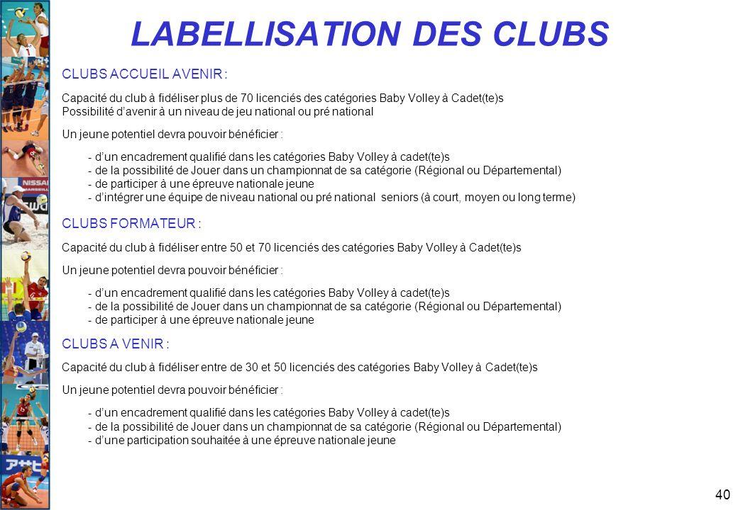 LABELLISATION DES CLUBS