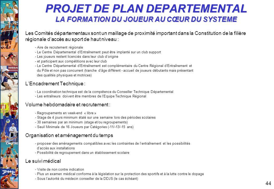 PROJET DE PLAN DEPARTEMENTAL LA FORMATION DU JOUEUR AU CŒUR DU SYSTEME