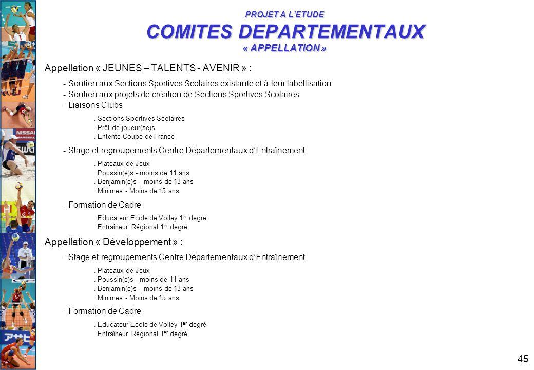 PROJET A L'ETUDE COMITES DEPARTEMENTAUX « APPELLATION »