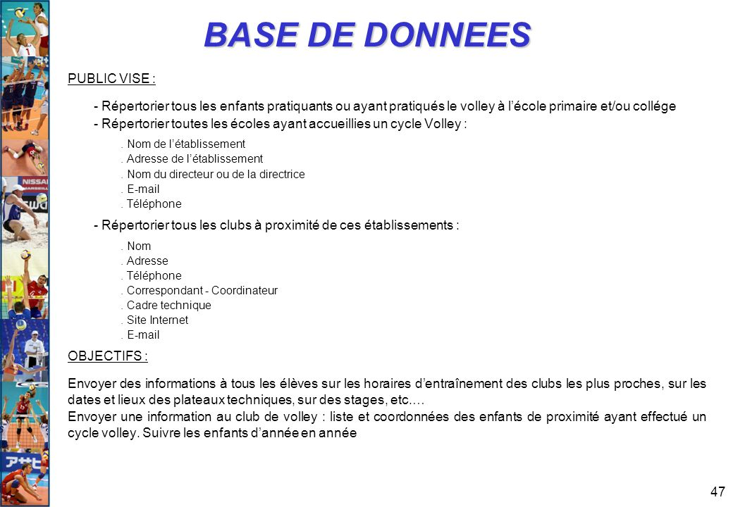 BASE DE DONNEES PUBLIC VISE :
