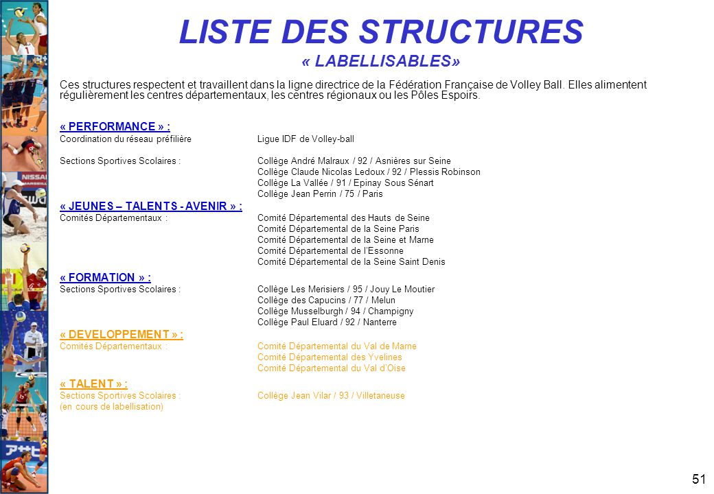 LISTE DES STRUCTURES « LABELLISABLES»