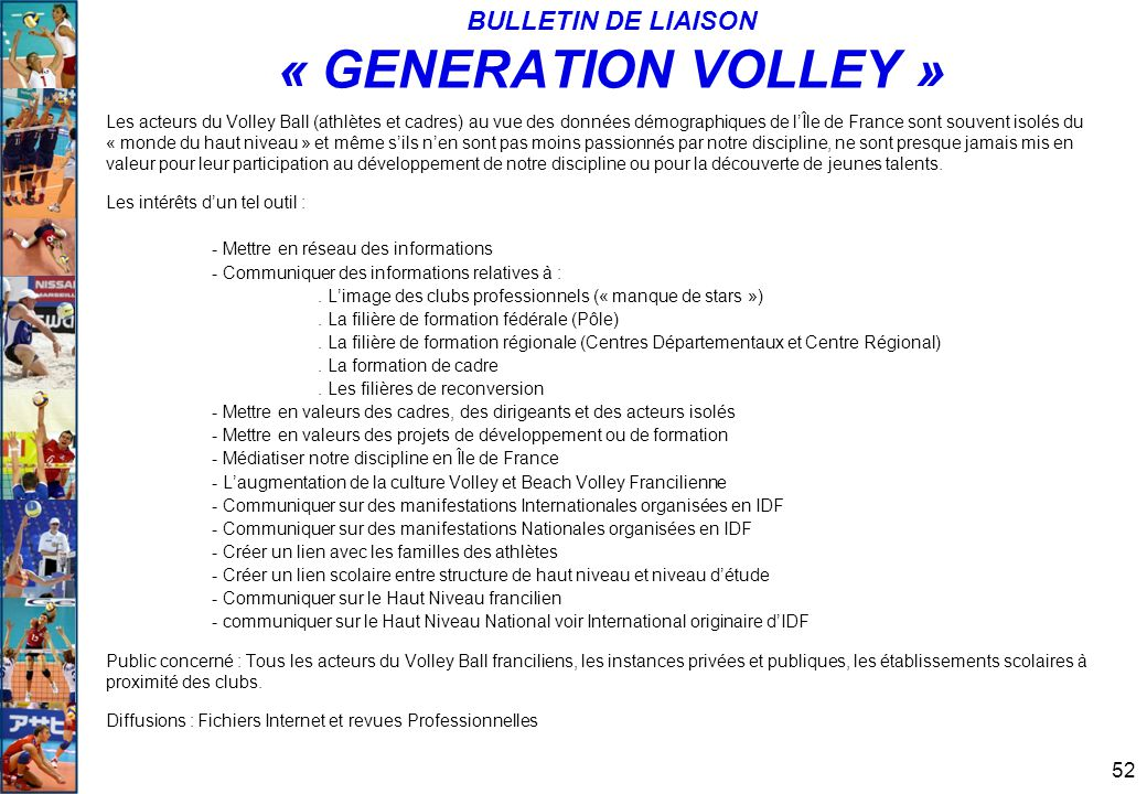 BULLETIN DE LIAISON « GENERATION VOLLEY »