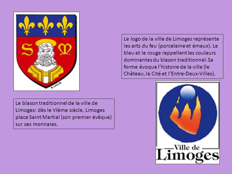 Le logo de la ville de Limoges représente les arts du feu (porcelaine et émaux). Le bleu et le rouge rappellent les couleurs dominantes du blason traditionnel. Sa forme évoque l'histoire de la ville (le Château, la Cité et l'Entre-Deux-Villes).