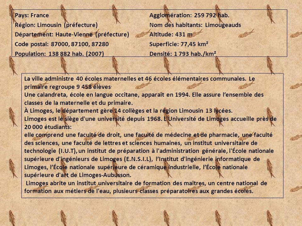 Pays: France Agglomération: 259 792 hab. Région: Limousin (préfecture) Nom des habitants: Limougeauds.