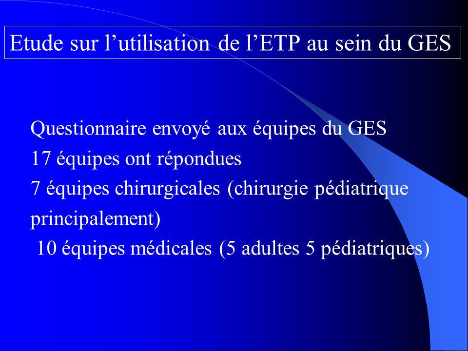 Etude sur l'utilisation de l'ETP au sein du GES