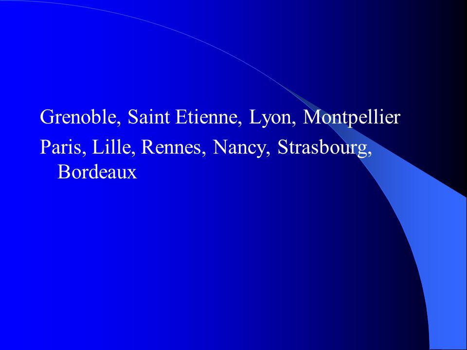 Grenoble, Saint Etienne, Lyon, Montpellier