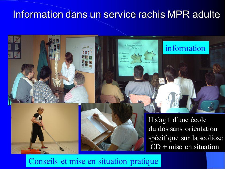 Information dans un service rachis MPR adulte