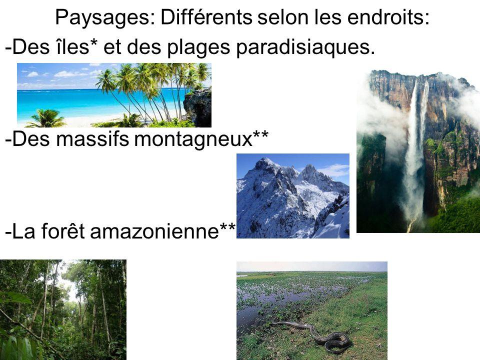 Paysages: Différents selon les endroits:
