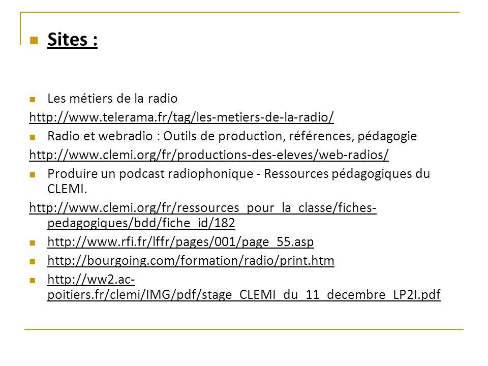Sites : Les métiers de la radio