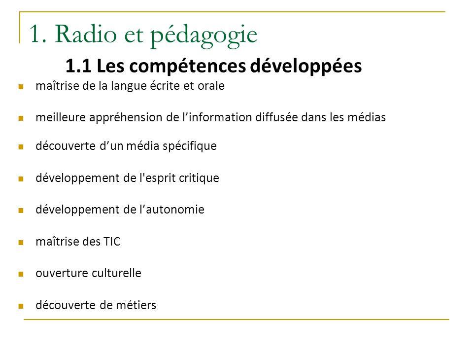 1. Radio et pédagogie 1.1 Les compétences développées