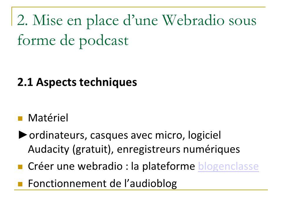 2. Mise en place d'une Webradio sous forme de podcast