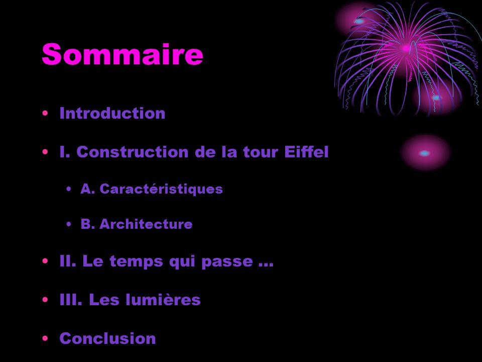 Sommaire Introduction I. Construction de la tour Eiffel