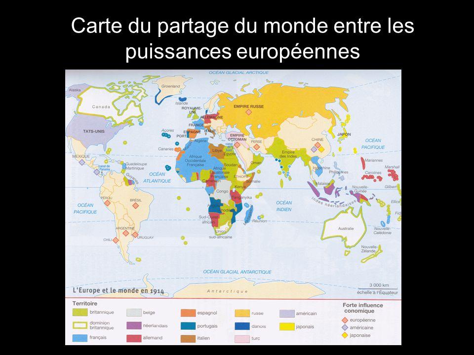 Carte du partage du monde entre les puissances européennes