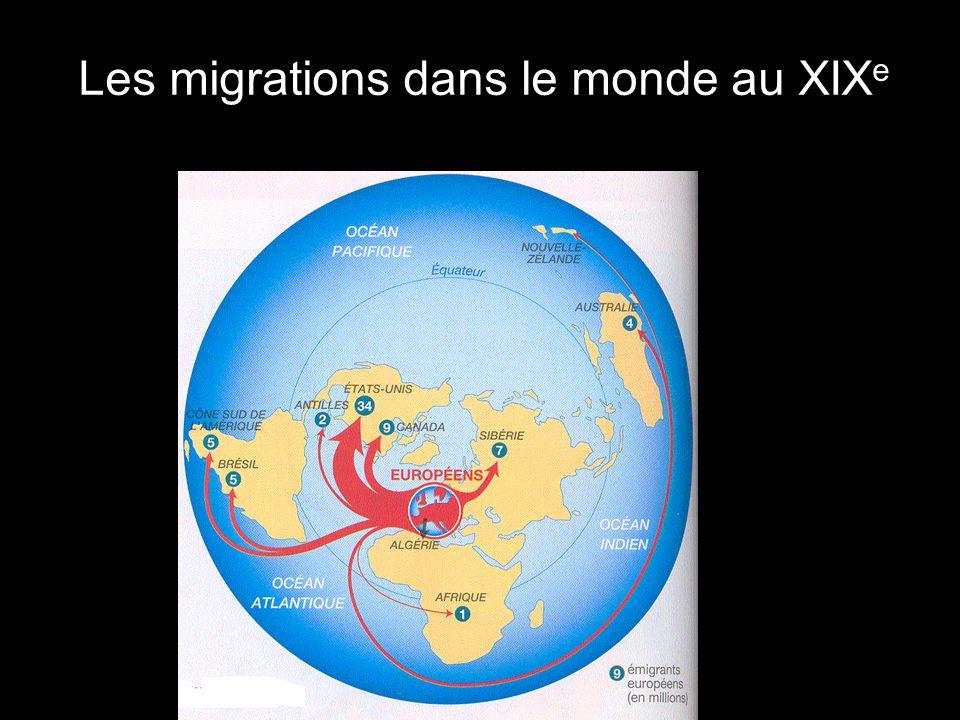 Les migrations dans le monde au XIXe