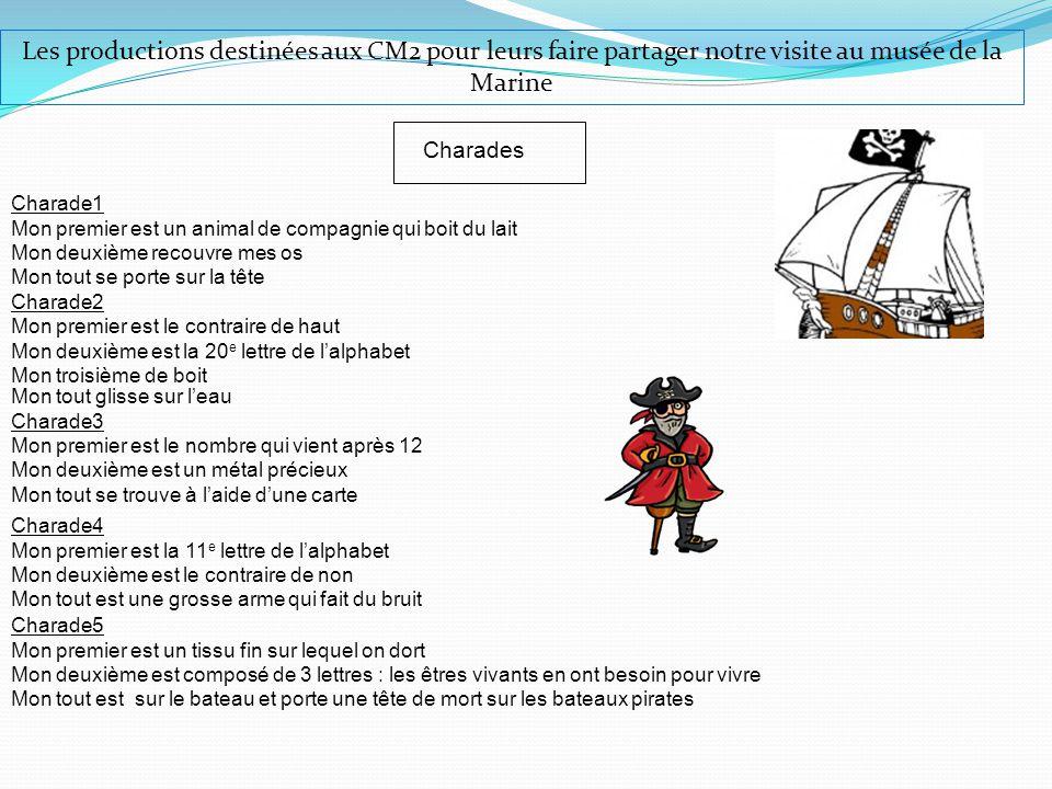 Les productions destinées aux CM2 pour leurs faire partager notre visite au musée de la Marine