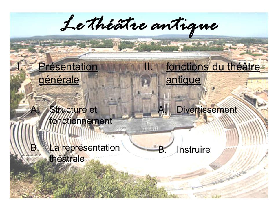 Le théâtre antique Présentation générale fonctions du théâtre antique