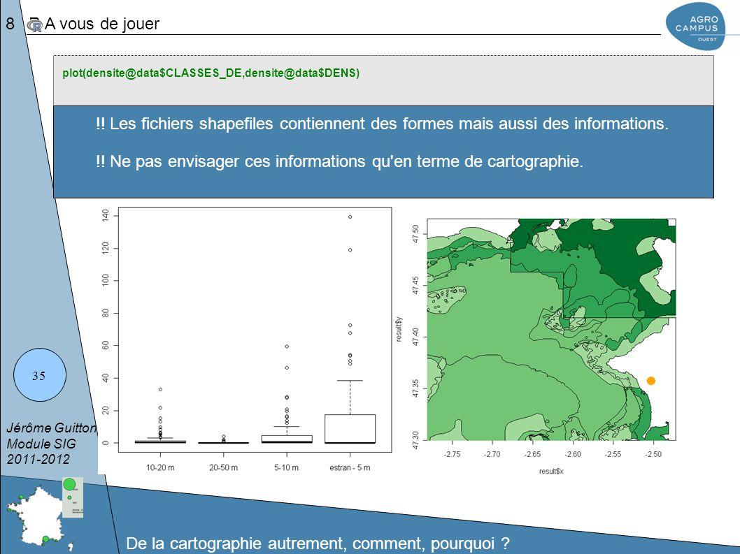 !! Ne pas envisager ces informations qu en terme de cartographie.