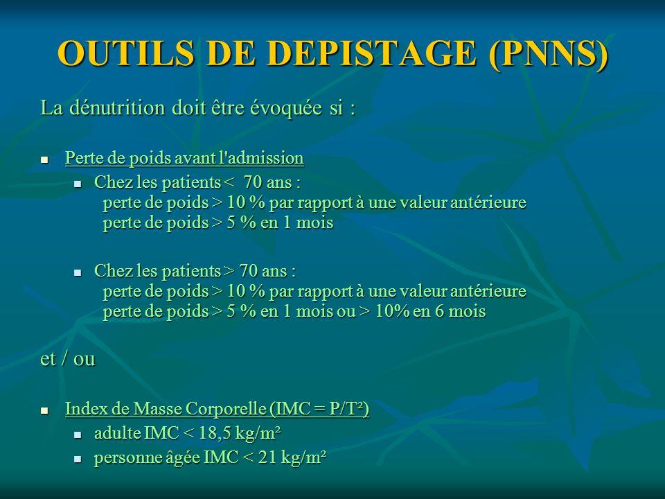 OUTILS DE DEPISTAGE (PNNS)