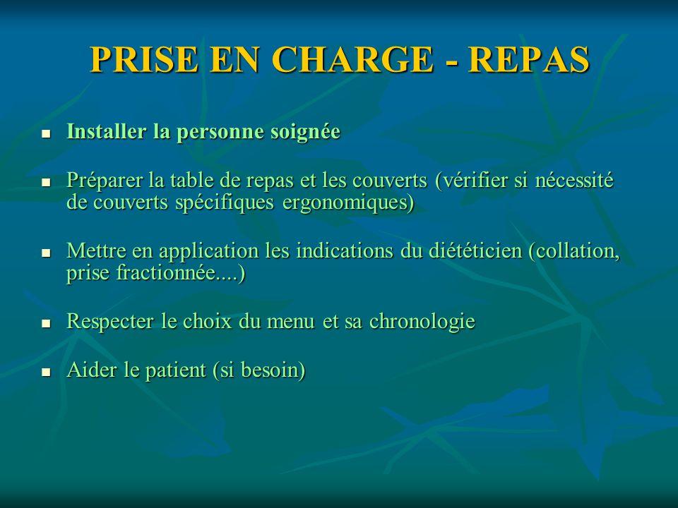 PRISE EN CHARGE - REPAS Installer la personne soignée