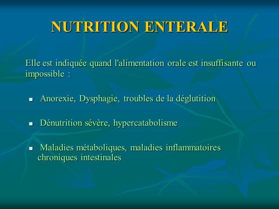 NUTRITION ENTERALE Elle est indiquée quand l alimentation orale est insuffisante ou impossible : Anorexie, Dysphagie, troubles de la déglutition.