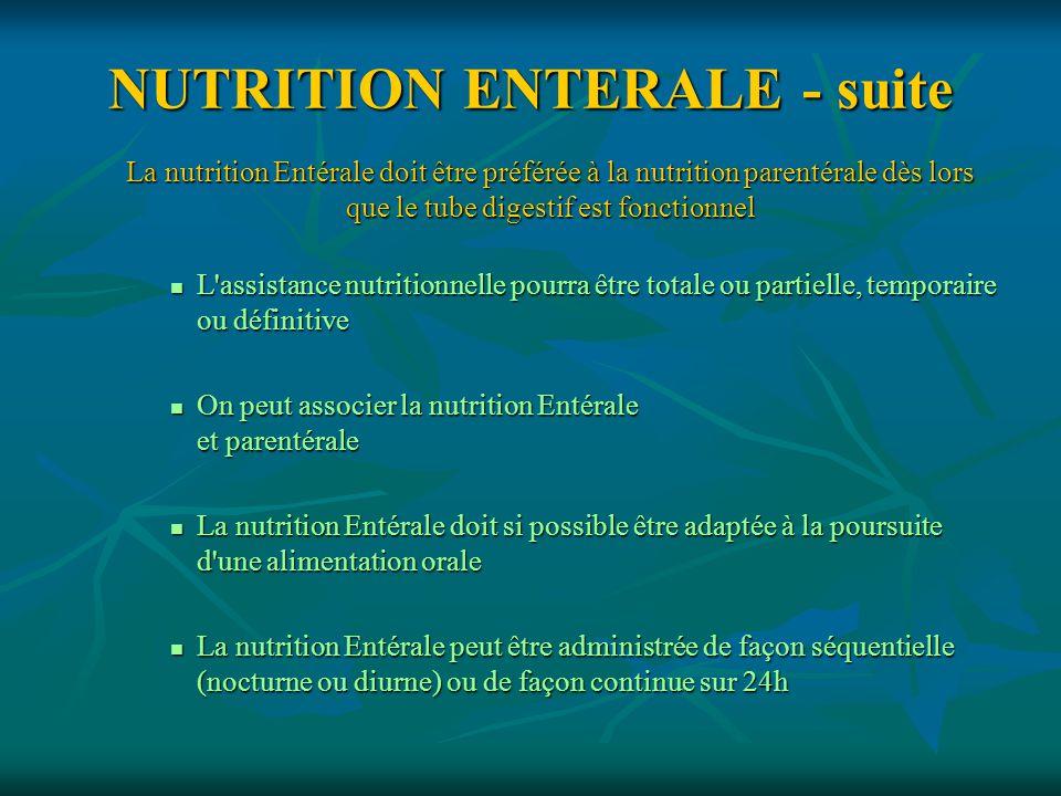 NUTRITION ENTERALE - suite