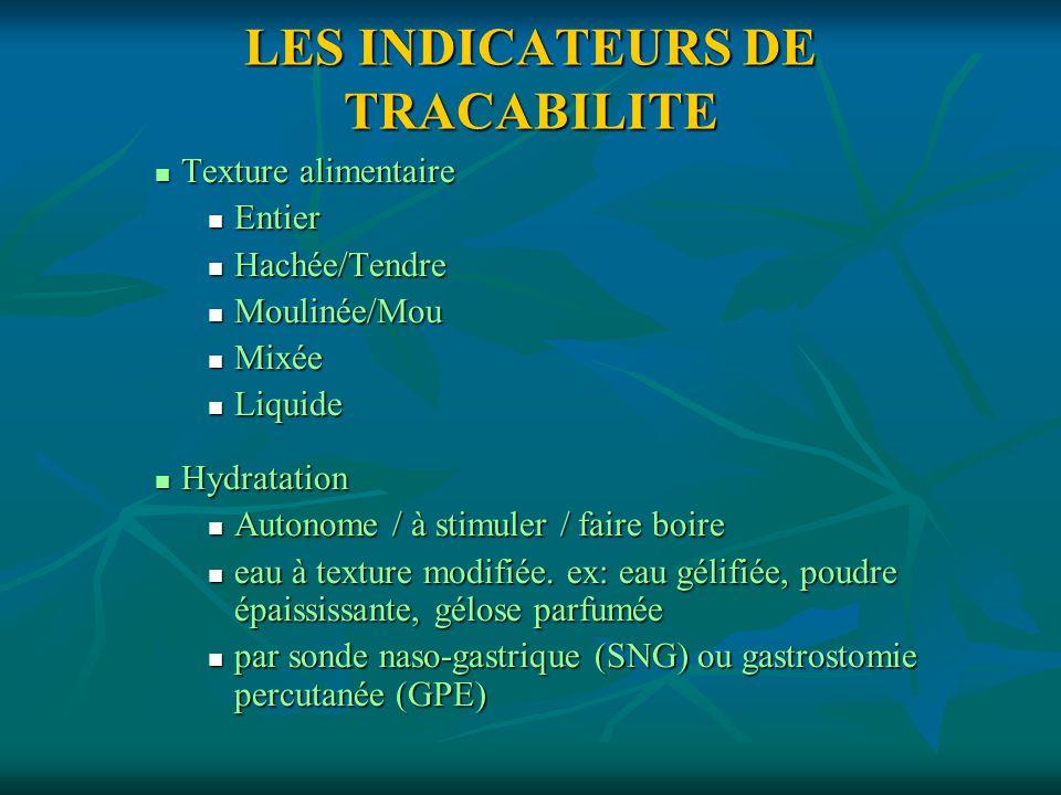 LES INDICATEURS DE TRACABILITE
