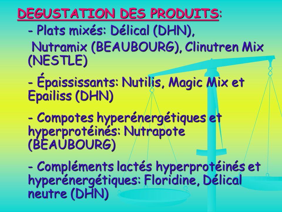 DEGUSTATION DES PRODUITS: - Plats mixés: Délical (DHN),