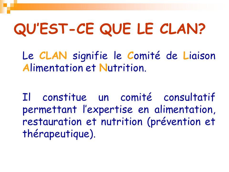 QU'EST-CE QUE LE CLAN Le CLAN signifie le Comité de Liaison Alimentation et Nutrition.